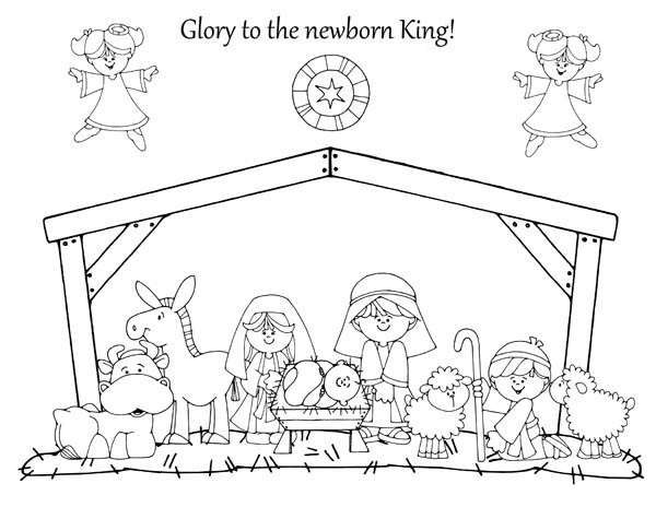 Free coloring pages of nativity advent
