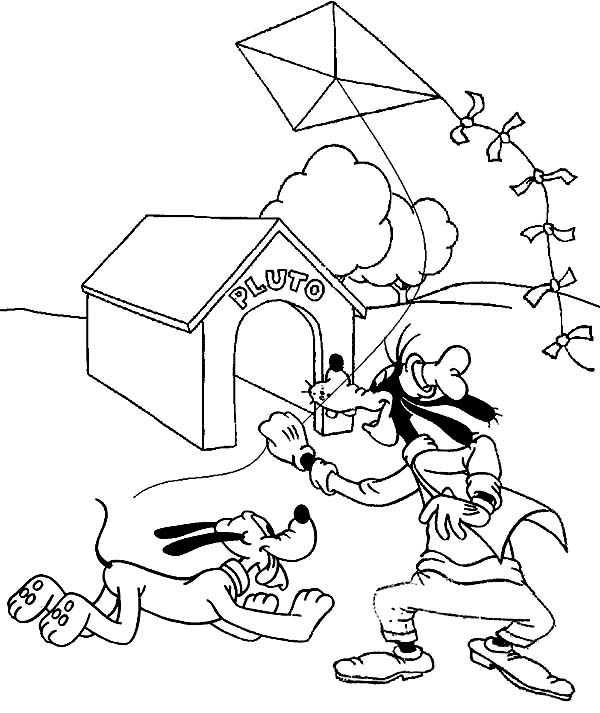 Goofy and Pluto Playing Kite Coloring Page: Goofy and