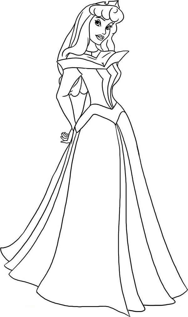 How To Draw Princess Aurora Sketch Coloring Page
