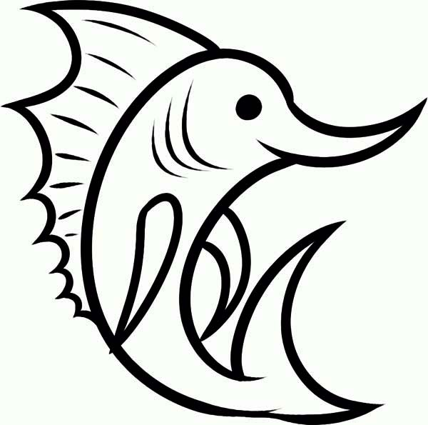 Free coloring pages of drawing sword fish