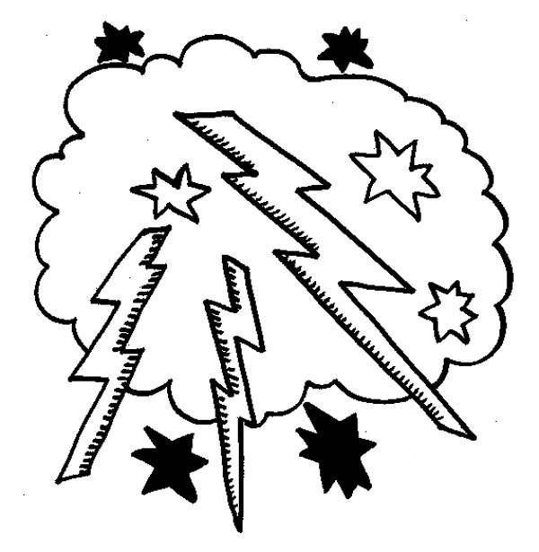 Lighting Bolt In The Cloud Coloring Page : Color Luna
