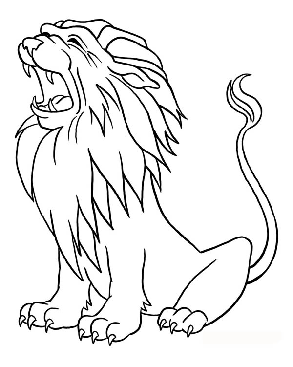 Lion Roaring Coloring Page: Lion Roaring Coloring Page