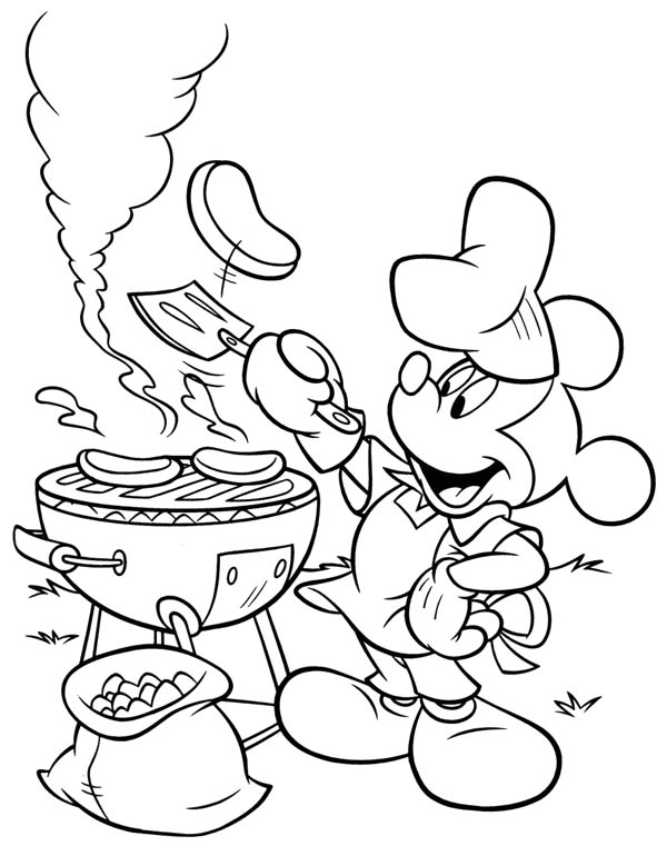 Mickey Mouse Barbeque at Back Yard Coloring Page: Mickey