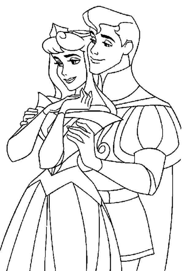 Perfect Couple in Sleeping Beauty Movie Coloring Page