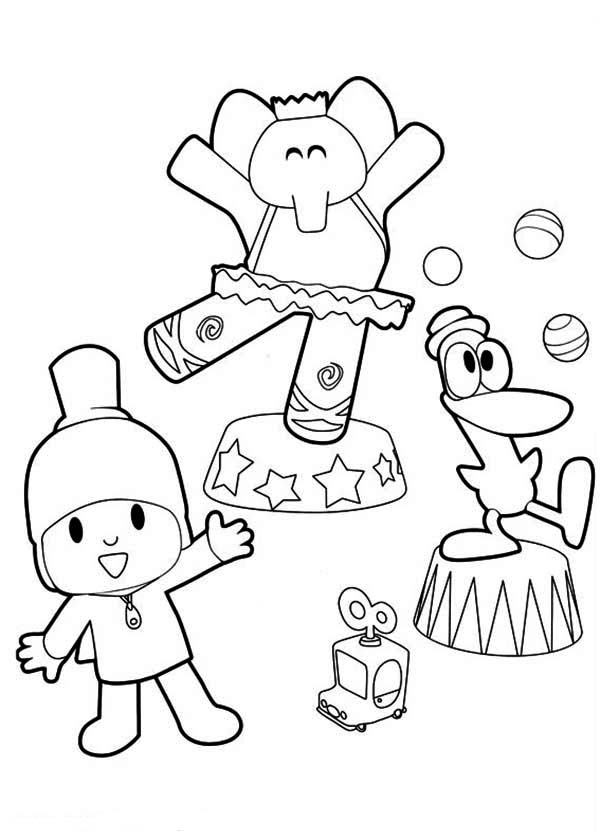 Pocoyo Doing Circus with His Friends Coloring Page: Pocoyo