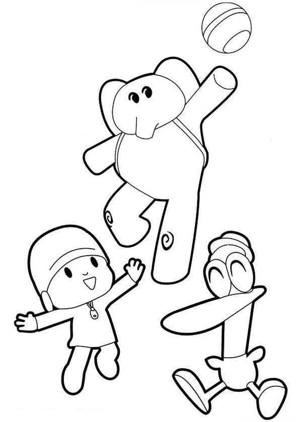 Pocoyo Elly and Pato Play Ball Together Coloring Page