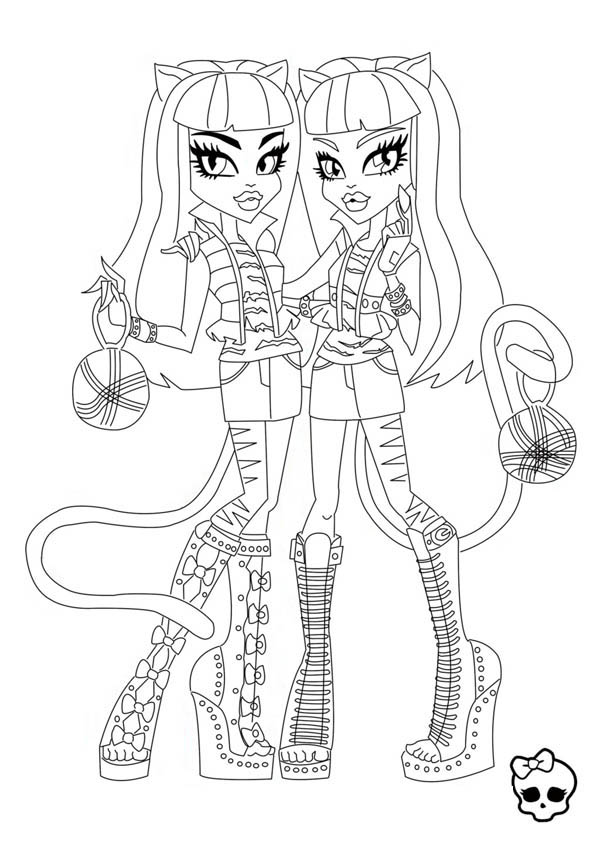 Purrsephone and Meowlody from Monster High Coloring Page