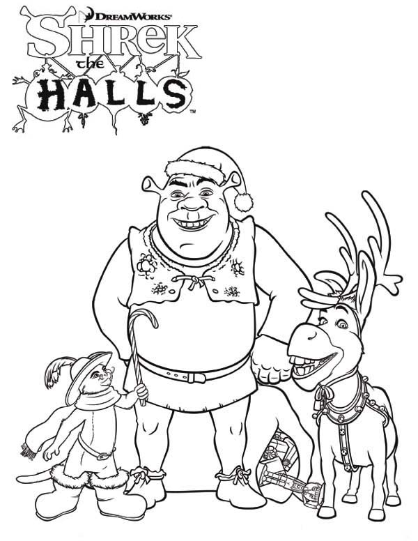 Shrek And Friends On Christmas Coloring Page : Color Luna