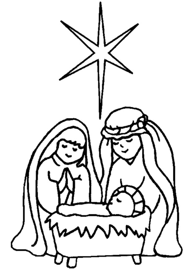 Star Upon Bethlehem Sky When Jesus is Born in Nativity