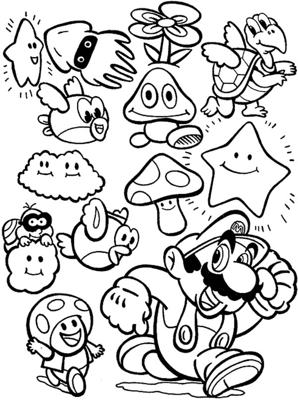 super mario brothers all characters coloring page  color luna