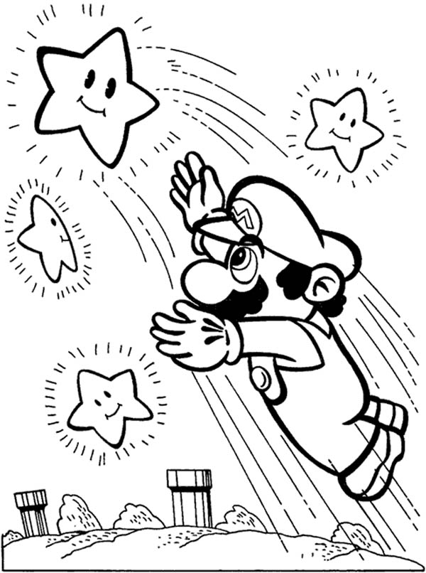 mario stars Colouring Pages