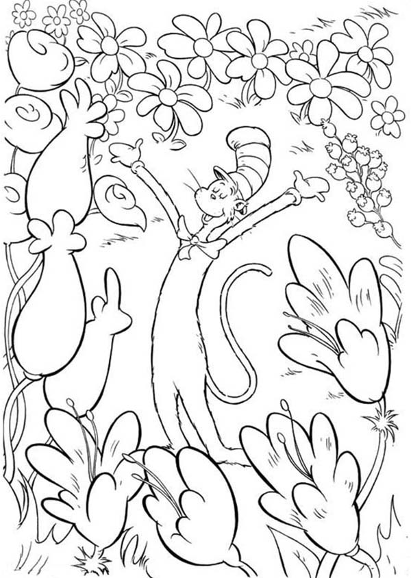 The Cat in the Hat in Garden of Flowers Coloring Page