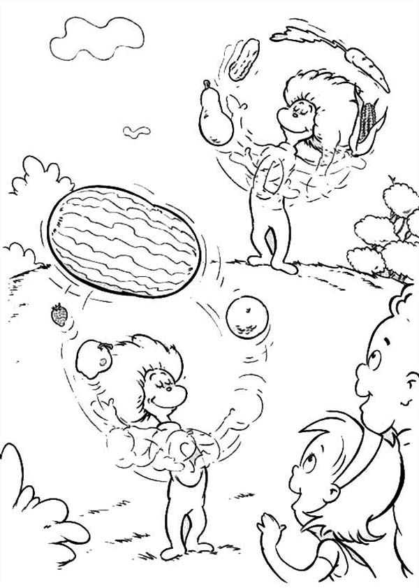 Thing One and Thing Two Juggling with Fruits in Front of
