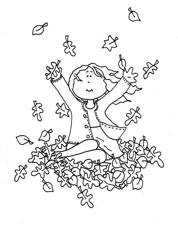 A Girl Catching Autumn Leaf Coloring Page: A Girl Catching