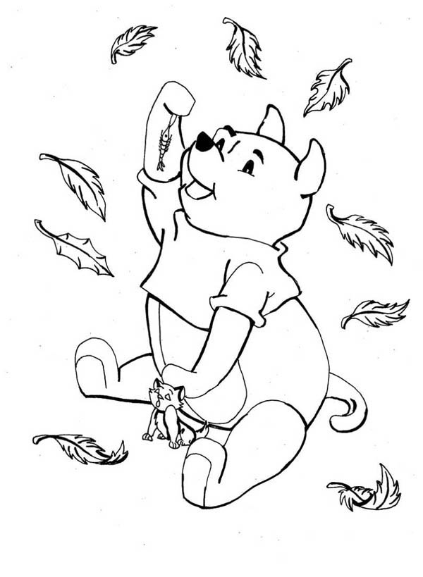 Disney Winnie the Pooh Catching in Autumn Leaves Coloring