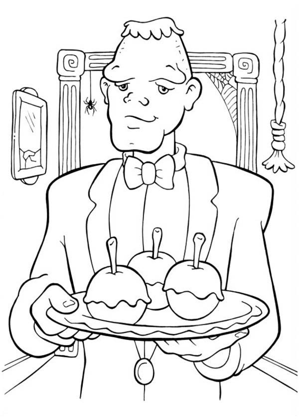 Creepy Frankenstein Servant On Halloween Day Coloring Page