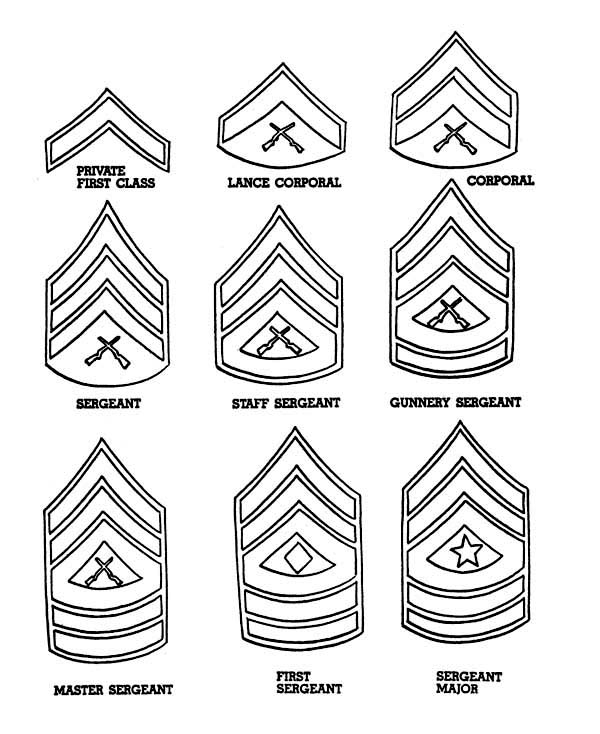 Celebrating Veterans Day with Enlisted Men Badges Coloring
