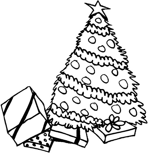 Pile of Presents Under Christmas Trees Coloring Pages