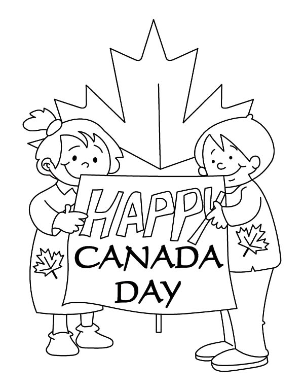 Two Childrens Create Sign for Canada Day 2015 Coloring