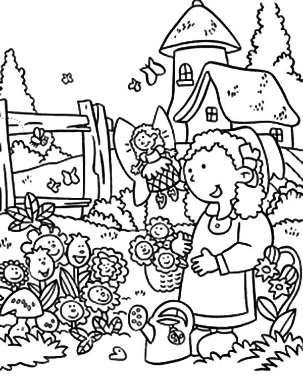Anne Story and Garden of Smiling Flower Coloring Pages