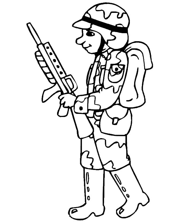 Drawing Military Soldier Coloring Pages: Drawing Military