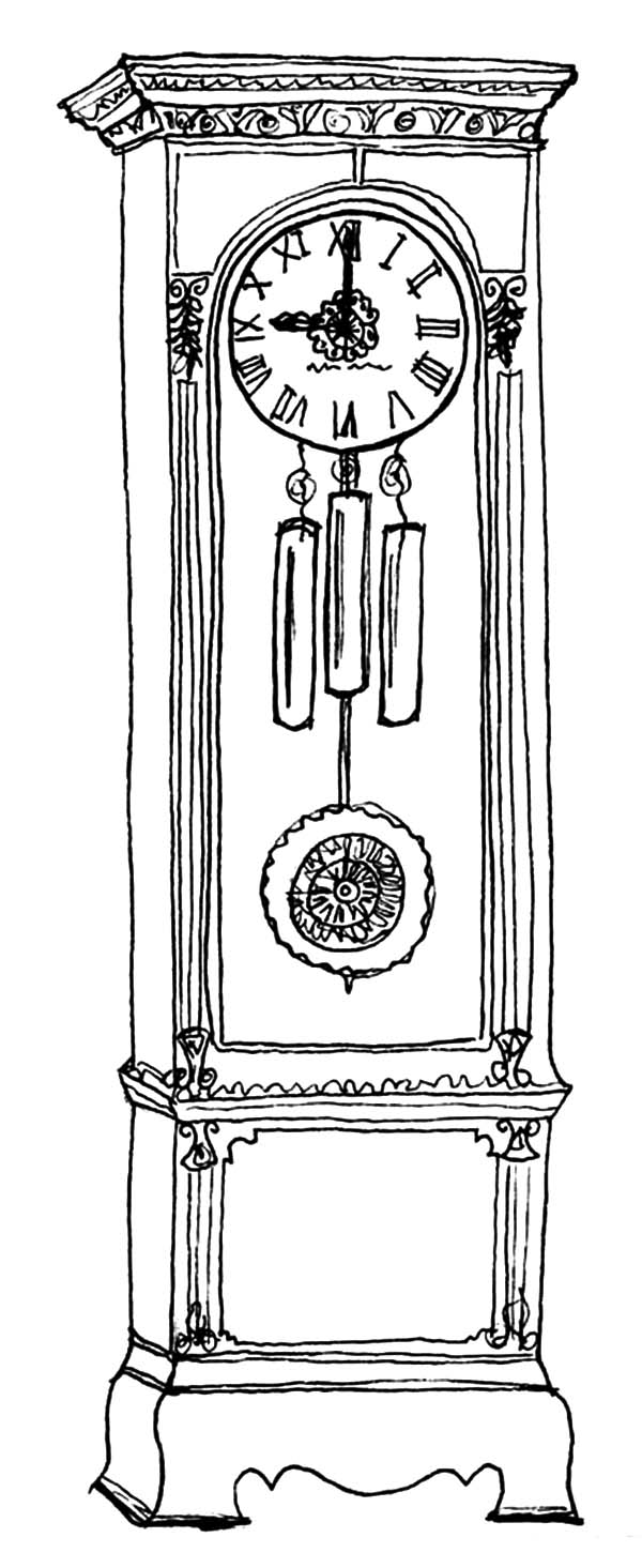 Pendulum Clock Diagram Sketch Coloring Page
