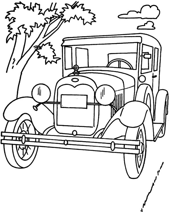 Model T Car Ford 1928 Coloring Pages: Model T Car Ford