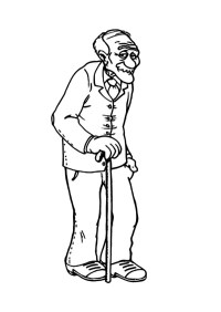 Grandfather Walking Slowly Coloring Pages | Color Luna