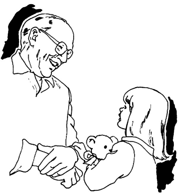Grandfather is Playing with Grandchildren Coloring Pages