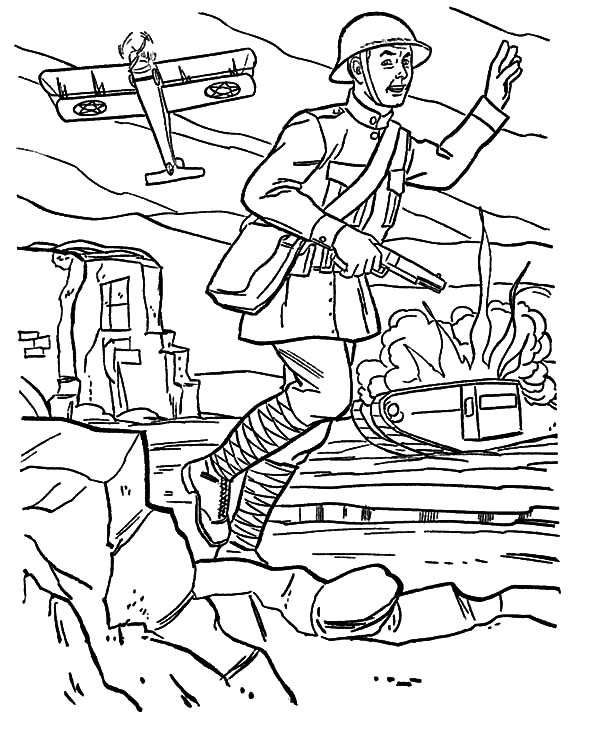 Free coloring pages of army dog with handler