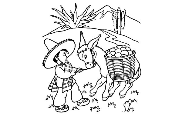 Mexican Donkey Pinata Coloring Pages: Mexican Donkey