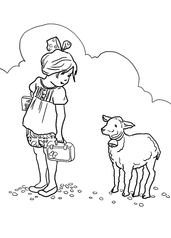 Cartoon of Mary Had a Little Lamb Coloring Pages: Cartoon