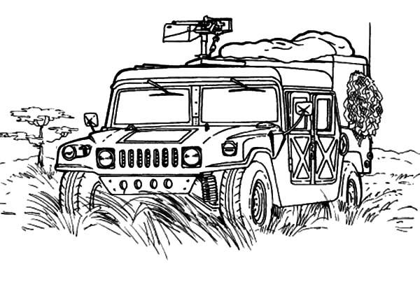 Military Jeep Patrol Coloring Pages : Color Luna