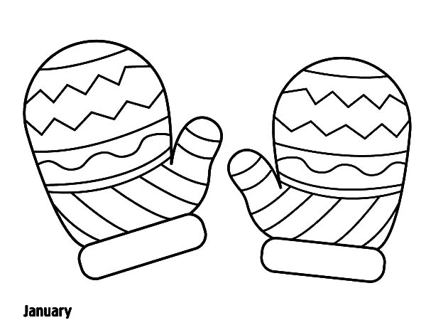 Knitted Mittens Coloring Pages: Knitted Mittens Coloring
