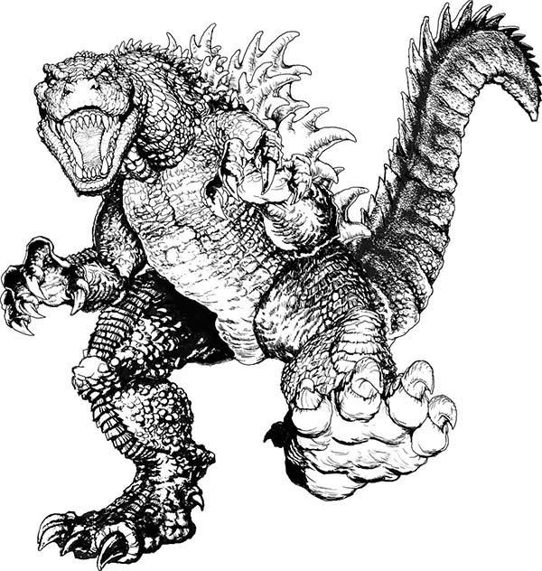 Godzilla Page 3: Terrifying Godzilla Coloring Pages, Sea