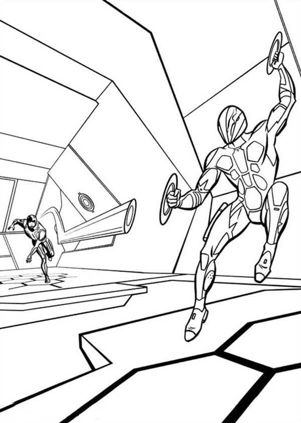 Tron Legacy Kevin Flynn is Proud of His Son Coloring Pages