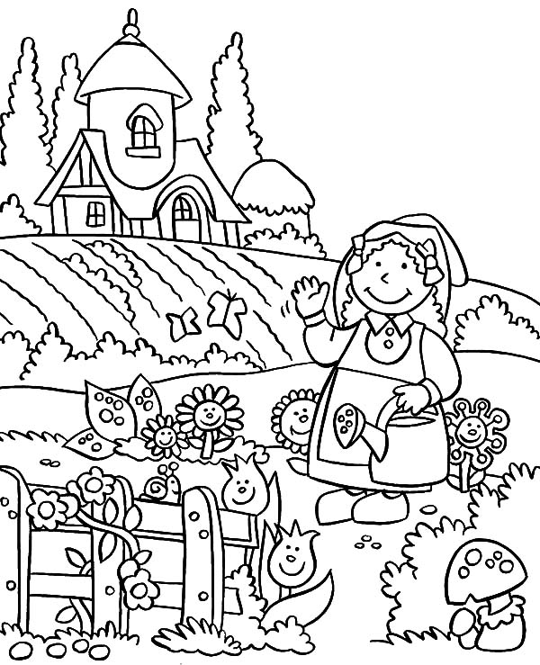 Lovely Flower Garden Coloring Pages