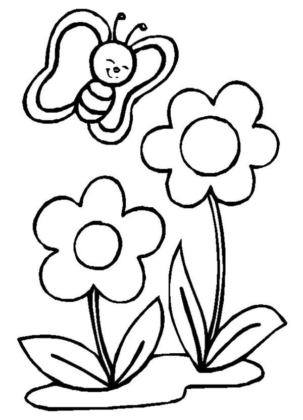 Cute Little Butterfly and Two Flowers Coloring Page: Cute