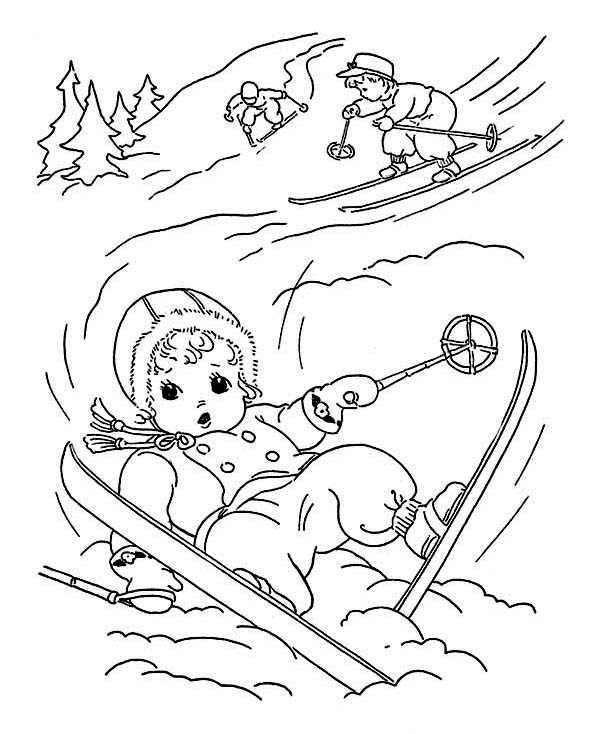 Cute Little Kid Slip Down While Skiing on Winter Coloring