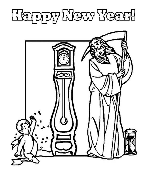 Father Time And Baby New Year Says Happy New Year To All