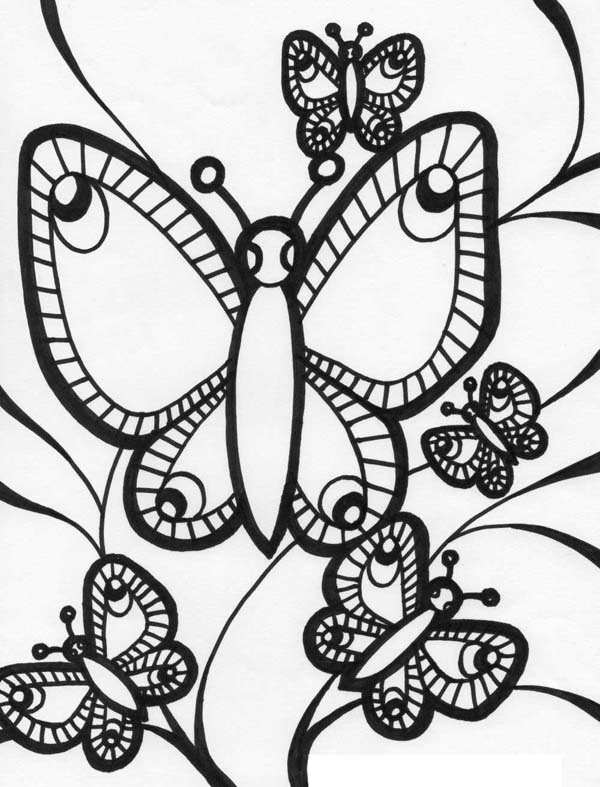 Five Butterflies Illustration in Graphic Art Coloring Page