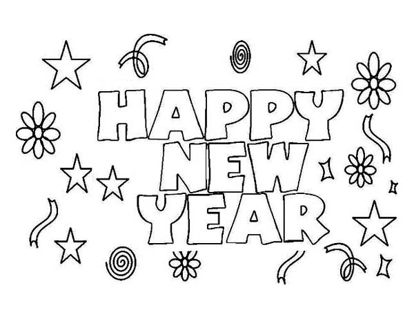 Happy New Year to Everyone Coloring Page: Happy New Year