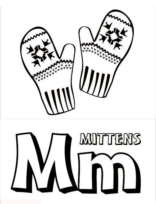 Letter M for Mitten Coloring Page: Letter M for Mitten