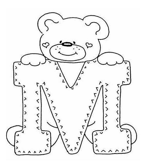 Letter M with Cute Teddy Bear Coloring Page: Letter M with