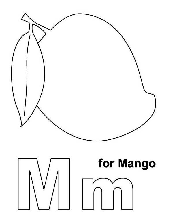 M Letter for Manggo Coloring Page: M Letter for Manggo
