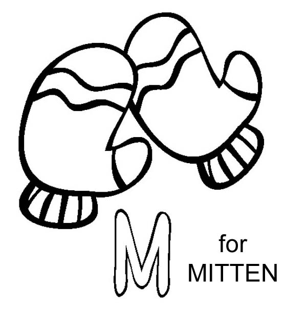 m letter for mitten coloring page  download & print