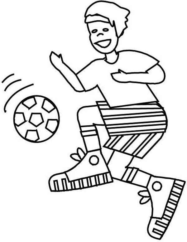 A Boy with Perfect Ball Handling on Soccer Game Coloring