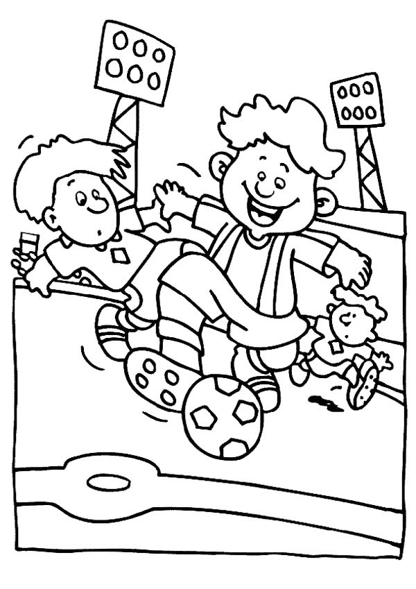 A Group of Boys Playing Soccer in a Stadium Coloring Page