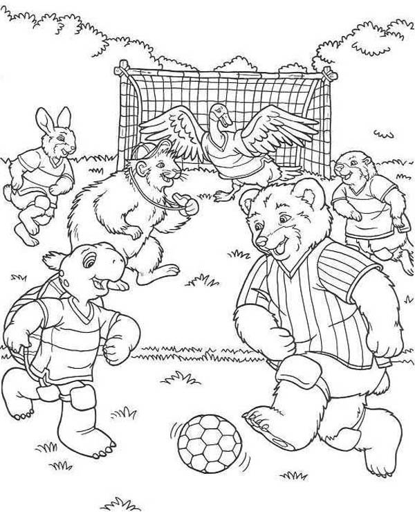 A Group of Cute Animals Play Soccer in the Forest Coloring