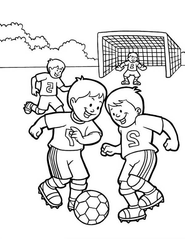 A Group Of Kids Playing Soccer In The School Yard Coloring
